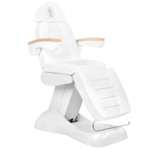 Fotel kosmetyczny elektryczny LUX BIAŁY / BUK 3M