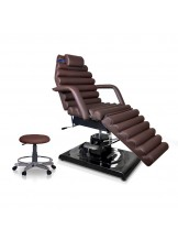Fotel kosmetyczny Lusso brąz + taboret
