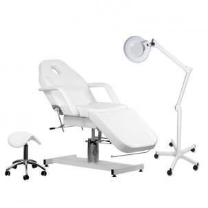 Fotel kosmetyczny, taboret i lampa lupa